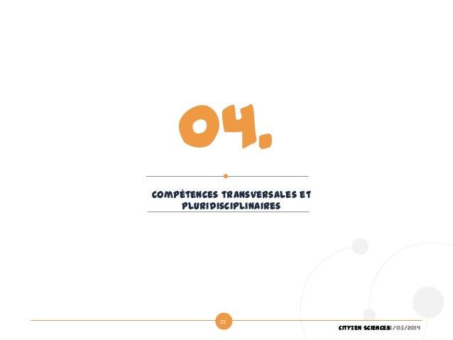 26/03/2014Cityzen Sciences 23 Compétences transversales et pluridisciplinaires 04.