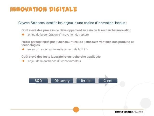 26/03/2014Cityzen Sciences Cityzen Sciences identifie les enjeux d'une chaîne d'innovation linéaire : Coût élevé des proce...