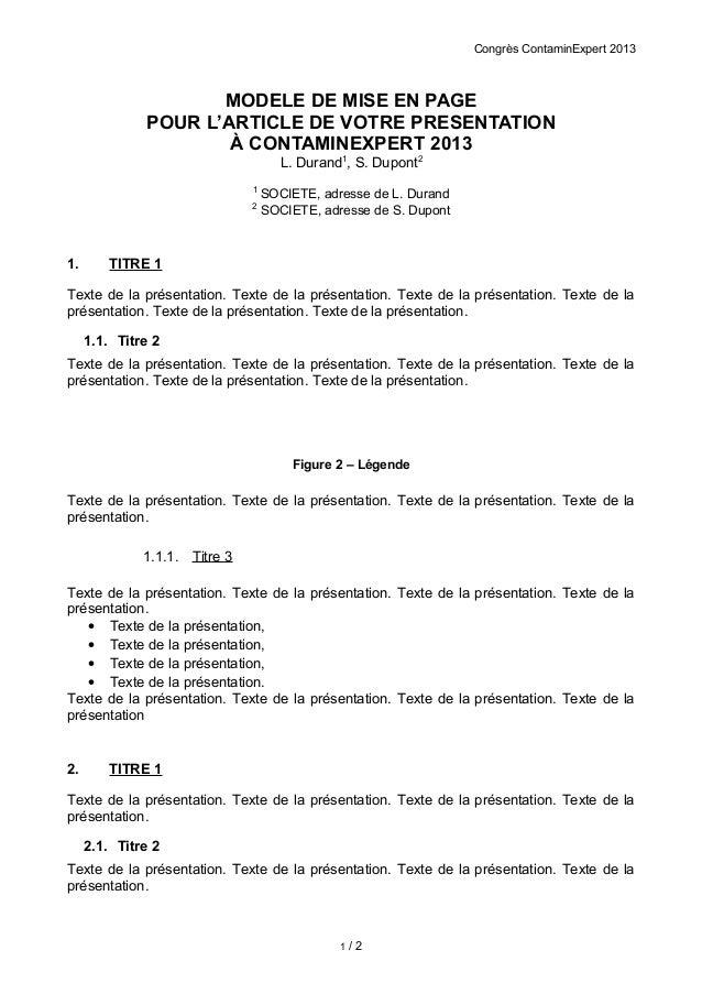Congrès ContaminExpert 2013                     MODELE DE MISE EN PAGE              POUR L'ARTICLE DE VOTRE PRESENTATION  ...