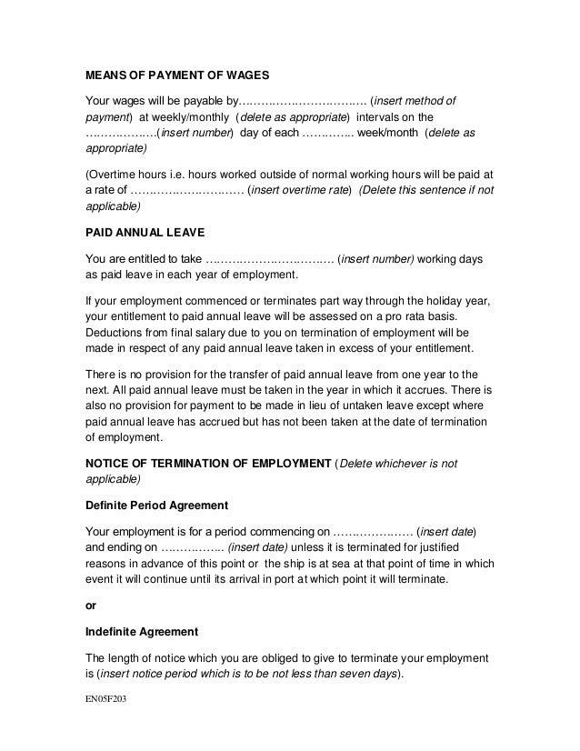 Model format for seafarer employment agreement 2 – Employment Agreement