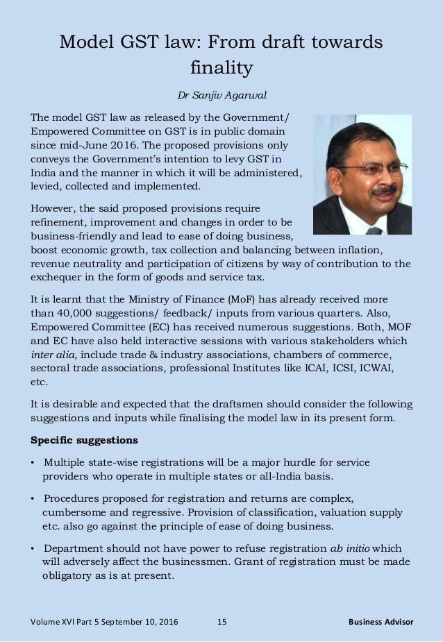 Volume XVI Part 5 September 10, 2016 15 Business Advisor Model GST Law:  From ...