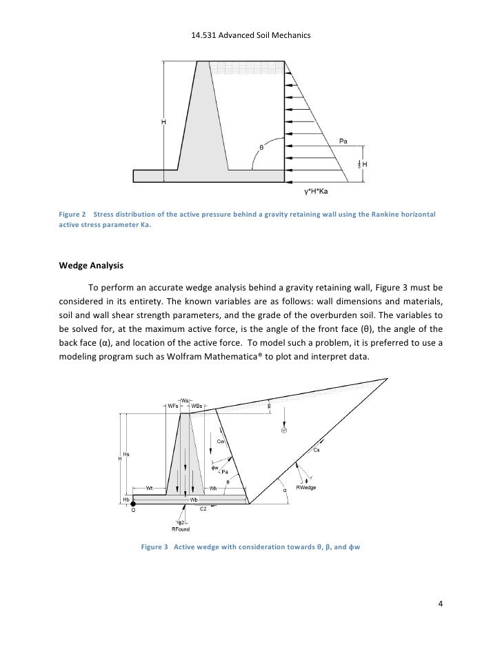 Modeling of the Active Wedge behind a Gravity Retaining Wall