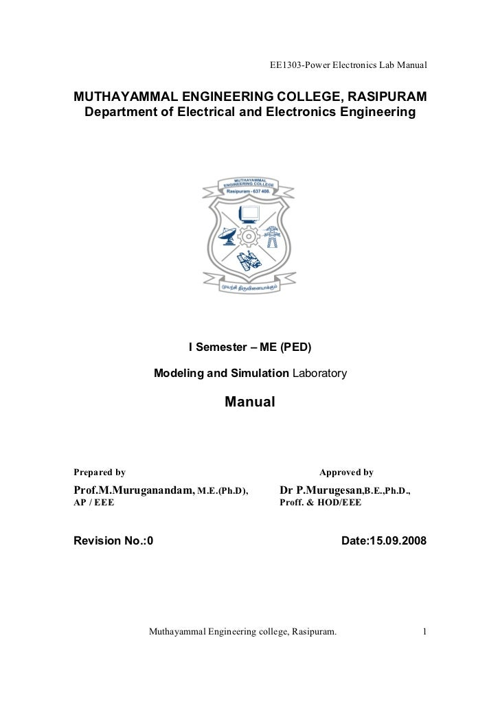 EE1303-Power Electronics Lab ManualMUTHAYAMMAL ENGINEERING COLLEGE, RASIPURAM Department of Electrical and Electronics Eng...