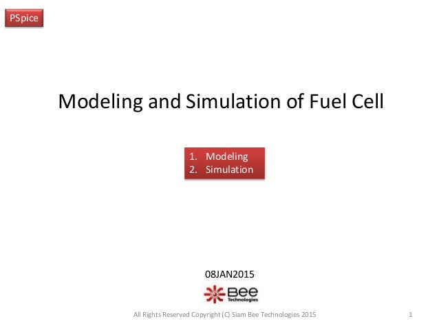 Modeling and Simulation of Fuel Cell PSpice 08JAN2015 1All Rights Reserved Copyright (C) Siam Bee Technologies 2015 1. Mod...