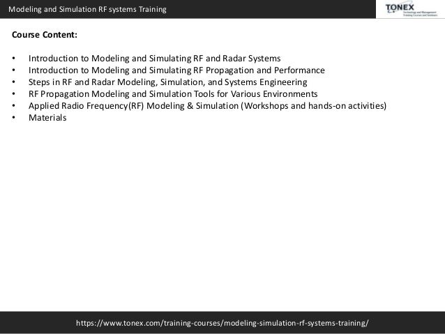 Modeling and Simulation RF Systems Training : Tonex Training