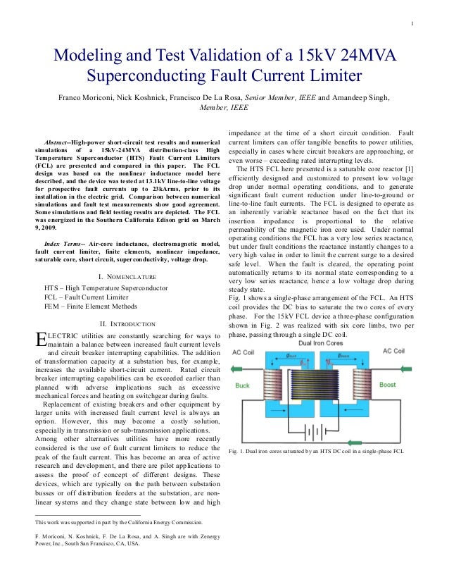1Abstract--High-power short-circuit test results and numericalsimulations of a 15kV-24MVA distribution-class HighTemperatu...