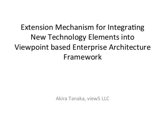 Extension	   Mechanism	   for	   Integra3ng	    New	   Technology	   Elements	   into	    Viewpoint	   based	   Enterprise...