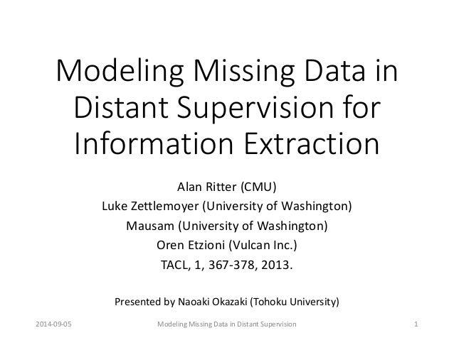 Modeling Missing Data in Distant Supervision for Information Extraction  Alan Ritter (CMU)  Luke Zettlemoyer(University of...