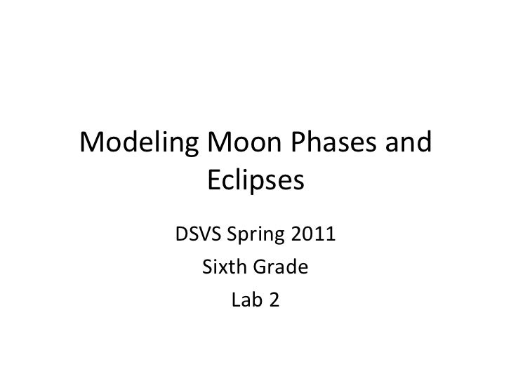 Modeling Moon Phases and Eclipses<br />DSVS Spring 2011<br />Sixth Grade<br />Lab 2<br />