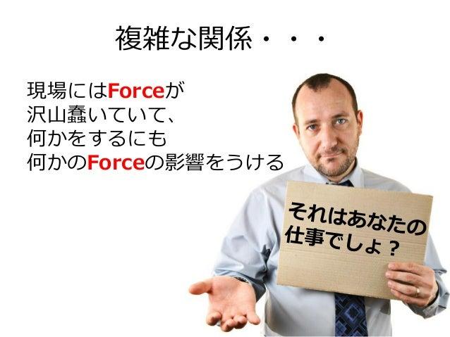 複雑な関係・・・ 現場にはForceが 沢山蠢いていて、 何かをするにも 何かのForceの影響をうける