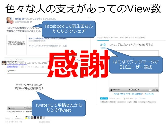 色々な人の支えがあってのView数 Facebookにて羽生田さん からリンクシェア はてなでブックマークが 310ユーザー達成 Twitterにて平鍋さんから リンクTweet 感謝