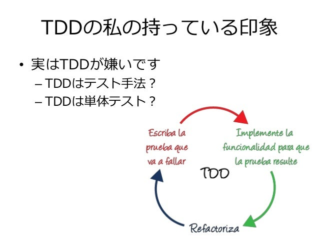 TDDの私の持っている印象 • 実はTDDが嫌いです – TDDはテスト手法? – TDDは単体テスト?