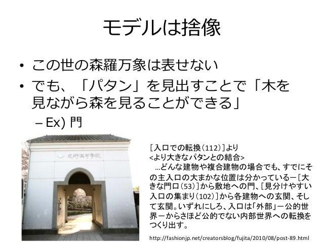[入口での転換(112)]より <より大きなパタンとの結合> …どんな建物や複合建物の場合でも、すでにそ の主入口の大まかな位置は分かっている-[大 きな門口(53)]から敷地への門、[見分けやすい 入口の集まり(102)]から各建物への玄関、...
