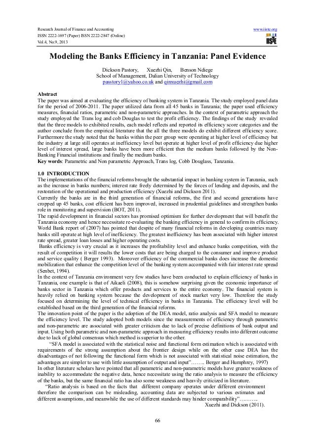 Research Journal of Finance and Accounting www.iiste.org ISSN 2222-1697 (Paper) ISSN 2222-2847 (Online) Vol.4, No.9, 2013 ...