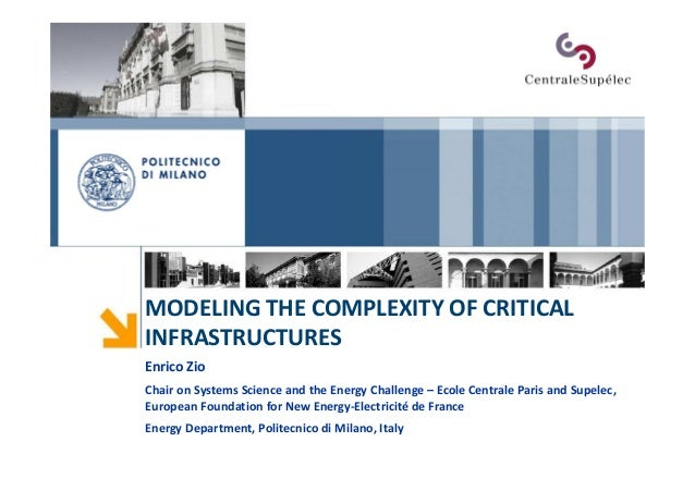 MODELING THE COMPLEXITY OF CRITICAL INFRASTRUCTURES Enrico Zio Chair on Systems Science and the Energy Challenge – Ecole C...