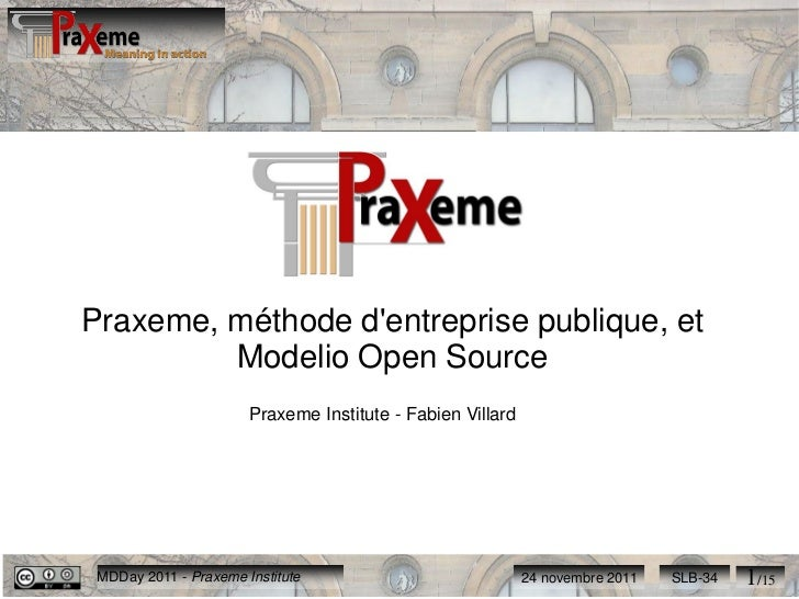 Praxeme, méthode dentreprise publique, et         Modelio Open Source                       Praxeme Institute - Fabien Vil...