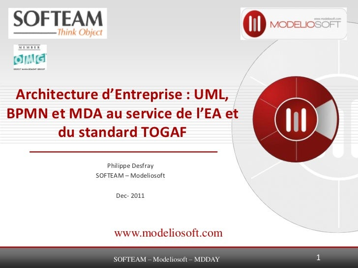 Architecture d'Entreprise : UML,BPMN et MDA au service de l'EA et       du standard TOGAF               Philippe Desfray  ...