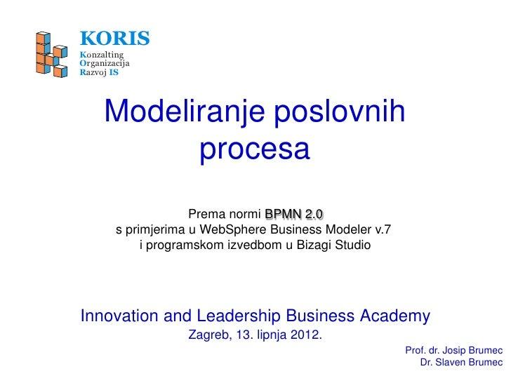 KORISKonzaltingOrganizacijaRazvoj IS     Modeliranje poslovnih           procesa                     Prema normi BPMN 2.0 ...