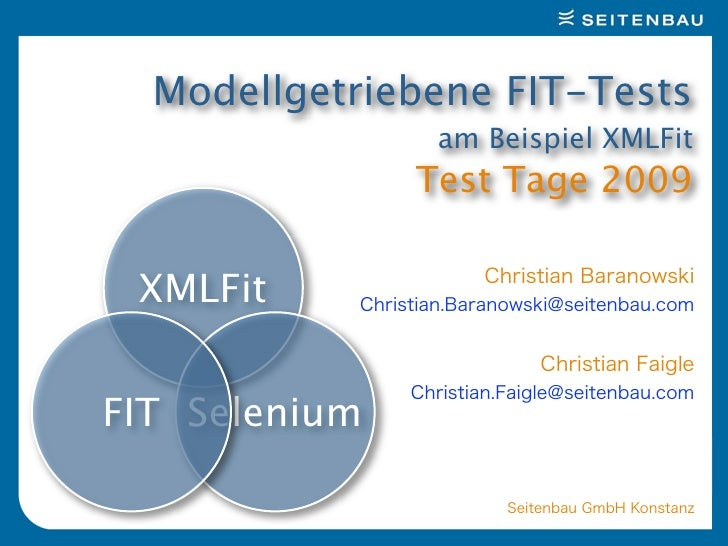 Modellgetriebene FIT-Tests                 am Beispiel XMLFit                Test Tage 2009    XMLFit   FIT Selenium