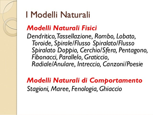 I Modelli Naturali Modelli Naturali Fisici Dendritico,Tassellazione, Rombo, Lobato, Toroide, Spirale/Flusso Spiralato/Flus...