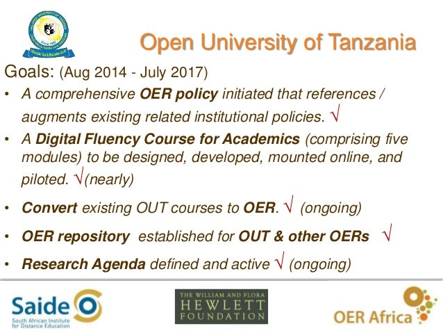 Modelling Openness in Academic Professional Development: case study of developing the Digital Fluency course at Open University of Tanzania. Slide 3