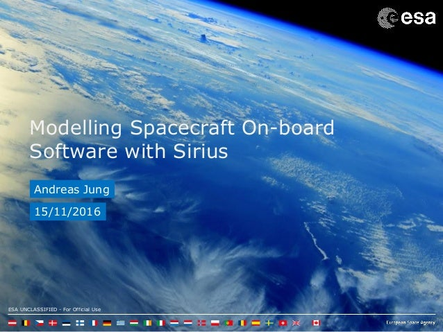 ESA UNCLASSIFIED - For Official Use Modelling Spacecraft On-board Software with Sirius Andreas Jung 15/11/2016