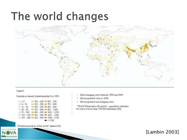 """   Legend of previous slide""""s picture:Population density in 1995 and most populated and changing citiesfrom 1990 to 2000...."""