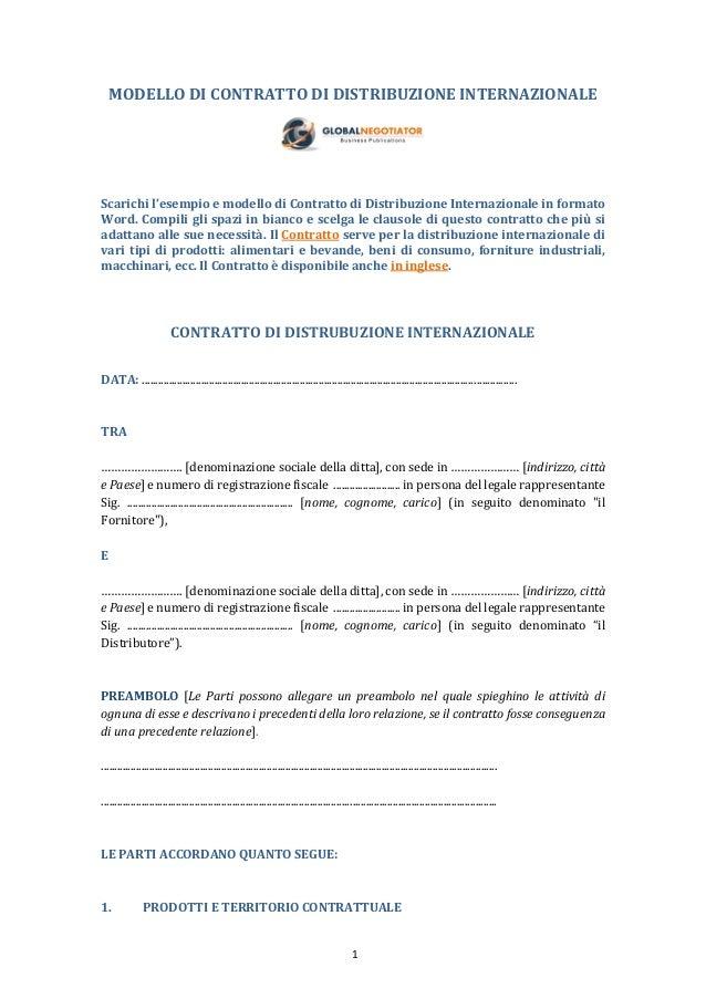 Contratto di distribuzione internazionale - Contratto di donazione immobile ...