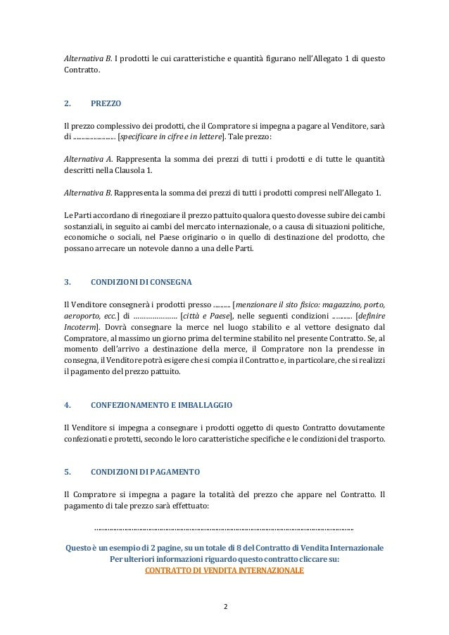 Contratto di vendita internazionale for Registrazione preliminare di vendita