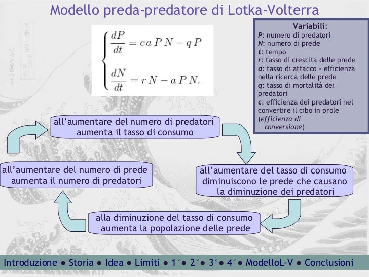 Modello preda-predatore di Lotka-Volterra Variabili :  P : numero di predatori N : numero di prede t : tempo r : tasso di ...