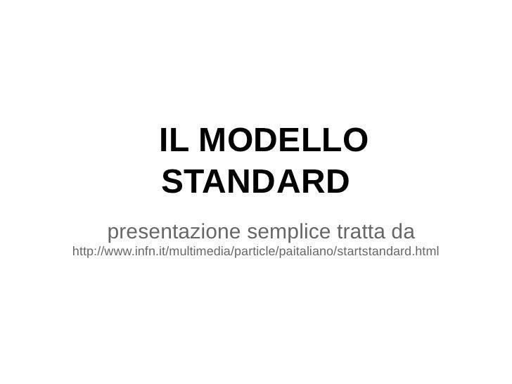 IL MODELLO                STANDARD      presentazione semplice tratta dahttp://www.infn.it/multimedia/particle/paitaliano/...