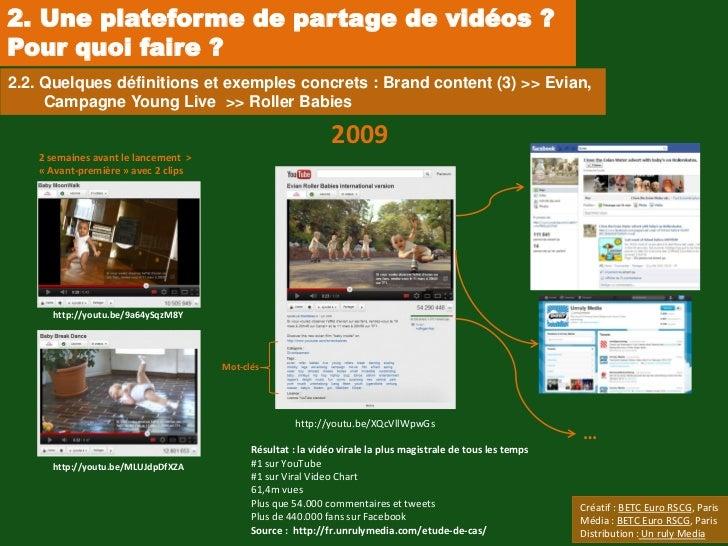 2. Une plateforme de partage de vidéos ?Pour quoi faire ?2.2. Quelques définitions et exemples concrets : Brand content (3...