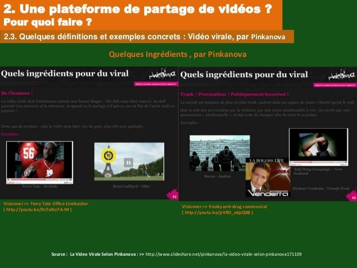 2. Une plateforme de partage de vidéos ?Pour quoi faire ?2.3. Quelques définitions et exemples concrets : Vidéo virale, pa...