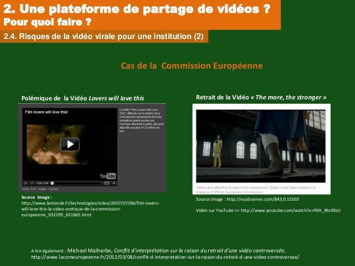 2. Une plateforme de partage de vidéos ?Pour quoi faire ?2.4. Risques de la vidéo virale pour une institution (2)         ...