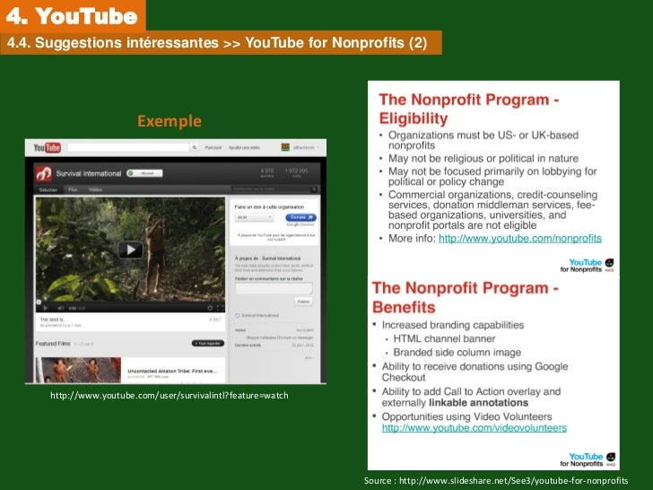 4. YouTube4.4. Suggestions intéressantes >> YouTube for Nonprofits (2)                         Exemple      http://www.you...