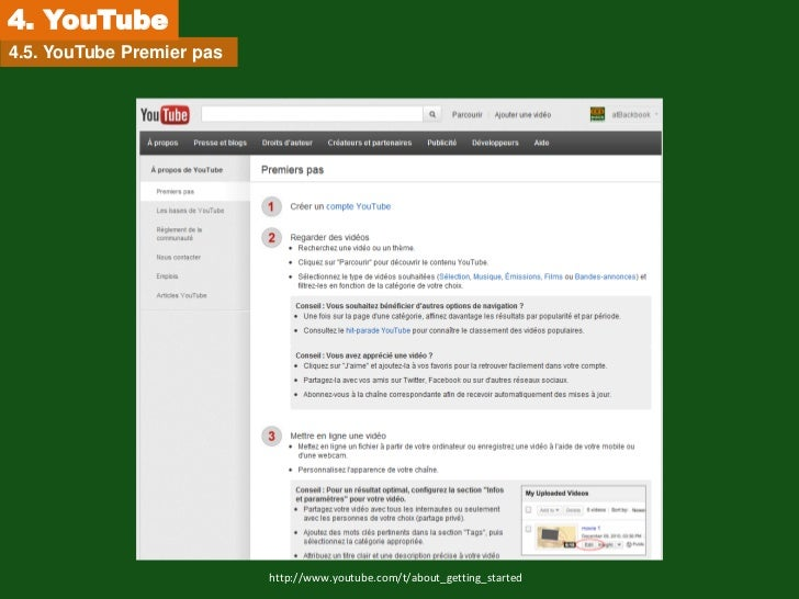4. YouTube4.5. YouTube Premier pas                           http://www.youtube.com/t/about_getting_started