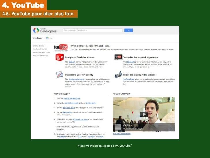 4. YouTube4.5. YouTube pour aller plus loin                                    https://developers.google.com/youtube/