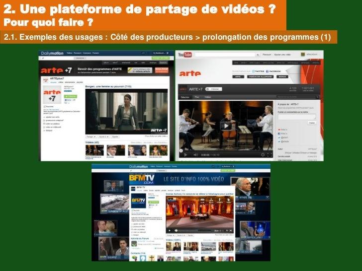 2. Une plateforme de partage de vidéos ?Pour quoi faire ?2.1. Exemples des usages : Côté des producteurs > prolongation de...