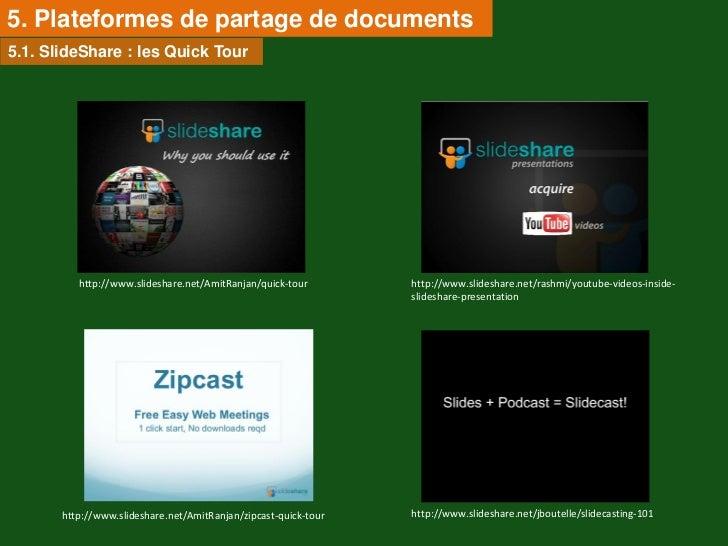 5. Plateformes de partage de documents5.1. SlideShare : les Quick Tour          http://www.slideshare.net/AmitRanjan/quick...