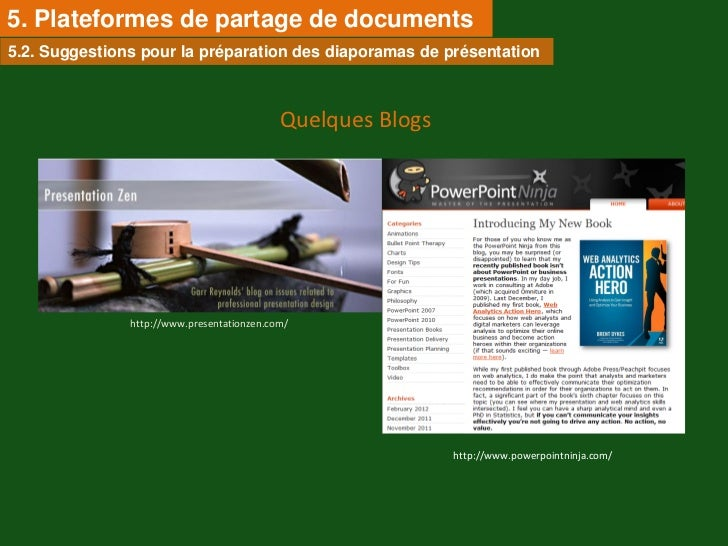 5. Plateformes de partage de documents5.2. Suggestions pour la préparation des diaporamas de présentation                 ...