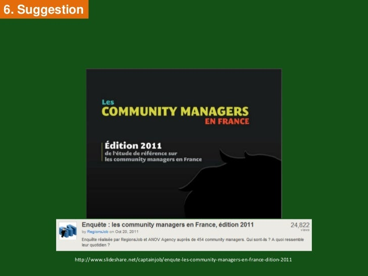 6. Suggestion           http://www.slideshare.net/captainjob/enqute-les-community-managers-en-france-dition-2011