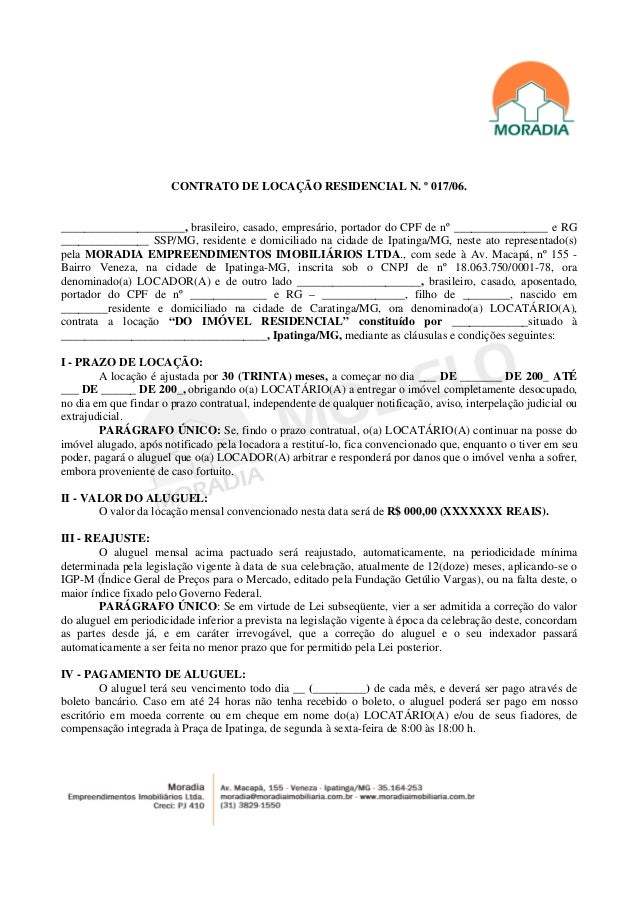 Modelo Contrato De Locacao