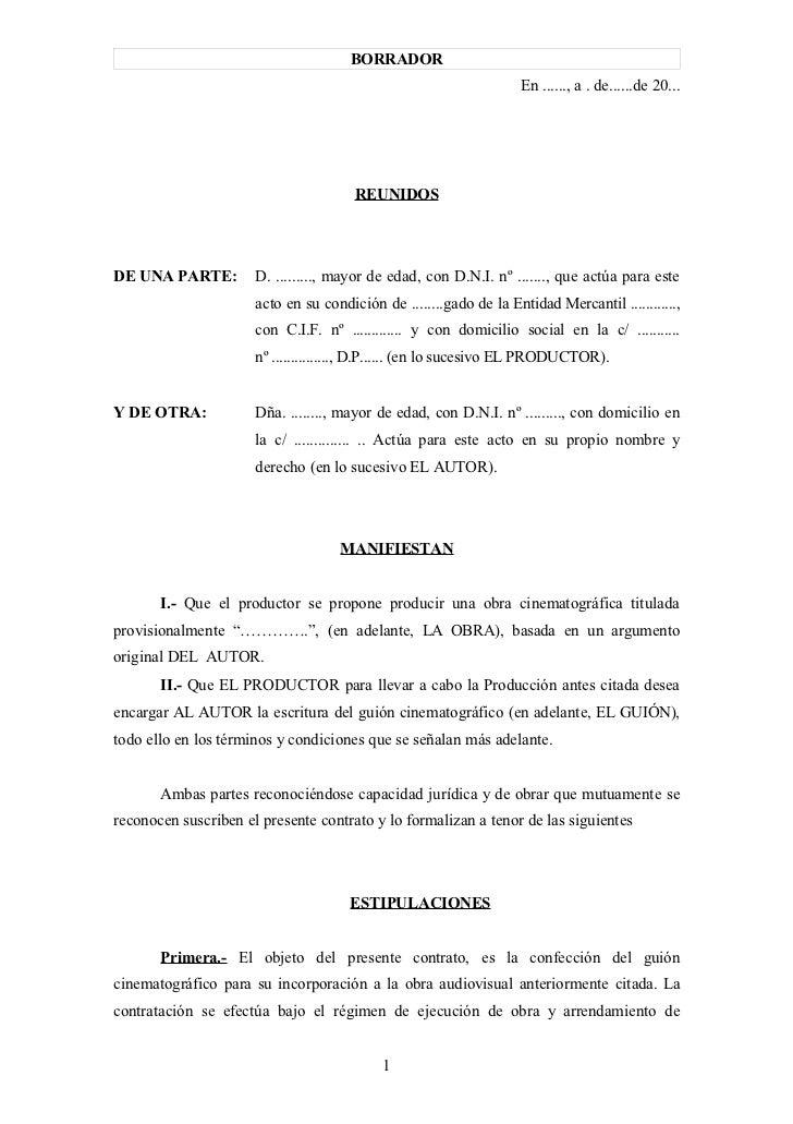 Modelo contrato entre productor y guionista1 for Contrato documento