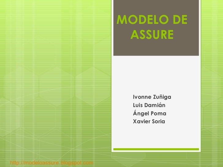MODELO DE ASSURE Ivonne Zuñiga Luis Damián Ángel Poma Xavier Soria http://modeloassure.blogspot.com