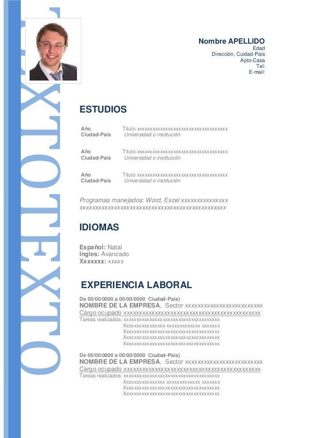 Modelo De Curriculum Vitae Modelo De Cv