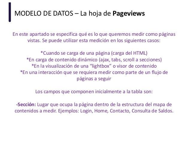 MODELO DE DATOS – La hoja de Pageviews En este apartado se especifica qué es lo que queremos medir como páginas vistas. Se...