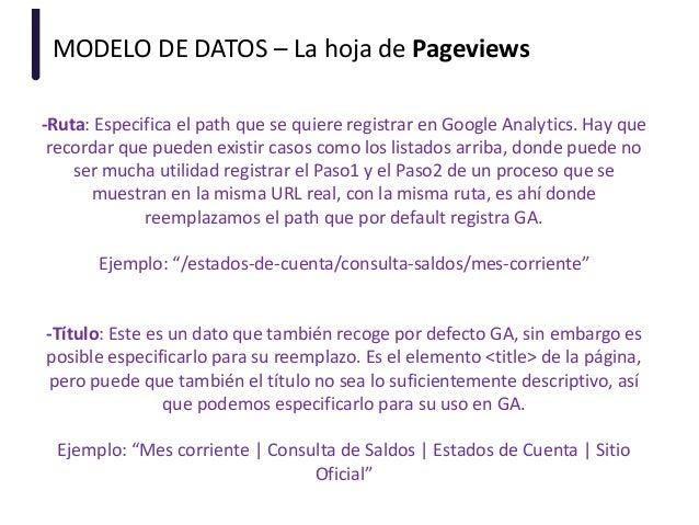 MODELO DE DATOS – La hoja de Pageviews -Ruta: Especifica el path que se quiere registrar en Google Analytics. Hay que reco...