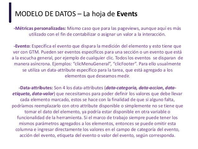 MODELO DE DATOS – La hoja de Events -Métricas personalizadas: Mismo caso que para las pageviews, aunque aquí es más utiliz...