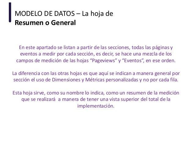 MODELO DE DATOS – La hoja de Resumen o General En este apartado se listan a partir de las secciones, todas las páginas y e...
