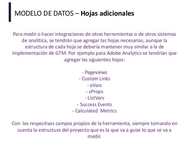 MODELO DE DATOS – Hojas adicionales Para medir o hacer integraciones de otras herramientas o de otros sistemas de analític...